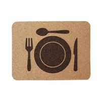 Kurk placemat bord en bestek