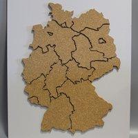 Landkaart kurk Duitsland op wit paneel