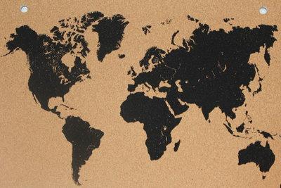 Wereldkaart-kurk-prikbord
